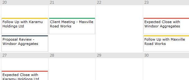 New sales calendar view